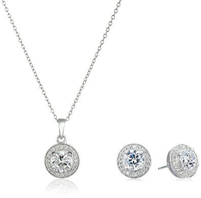 140711e79bf1 Sterling Silver Cubic Zirconia Halo Set Stud Earrings and 18″ Pendant  Necklace Jewelry Set Review