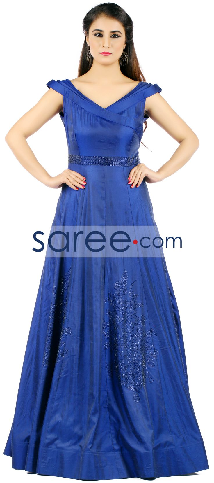 BLUE SILK GOWN WITH STONE WORK   #Gown #PartywearGown #ReceptionGown #IndoWestern #IndoWesternGown