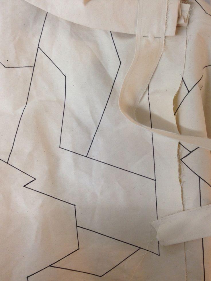 Planning patchwork onto calico sample jacket