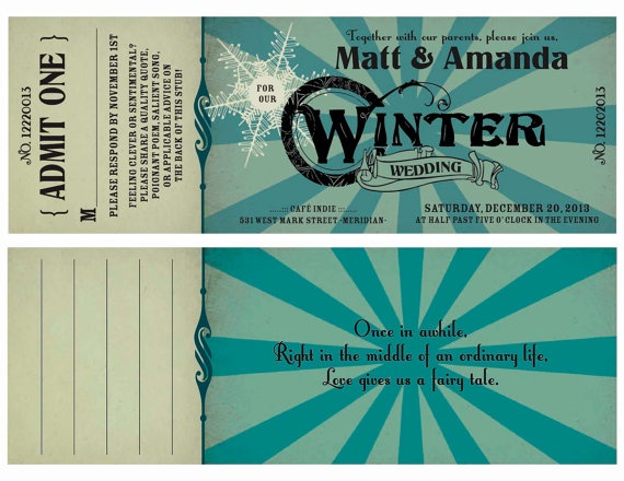 Winter Save the Date Printable Ticket Invitation with vintage and - prom ticket template