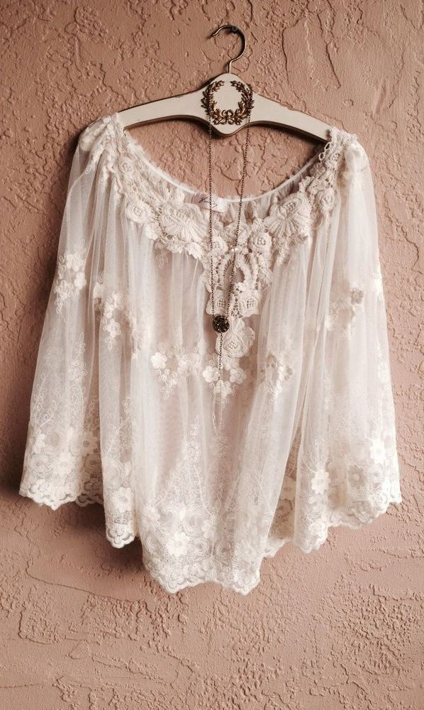 Romantic boho Sheer embroidery lace cape with floral crochet embellishments