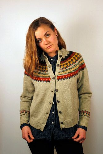Hand Knit Norwegian Cardigan Size S/M