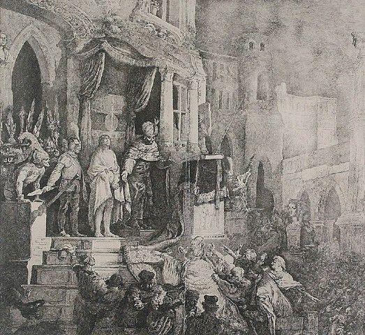 Jan Piotr NORBLIN de la GOURDAINE (1745-1830)  Ecce Homo akwaforta, papier; 36,5 x 39,4 cm (w świetle oprawy)