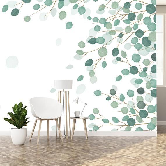 Eucalyptus Leaf Wallpaper Removable Wallpaper Leaf Wall Etsy Leaf Wallpaper Removable Wallpaper Wallpaper Walls Decor