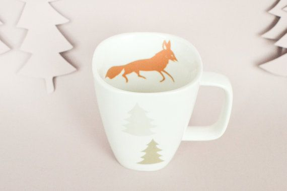 Mug with fox and trees by StudioRobinPieterse on Etsy, $23.00