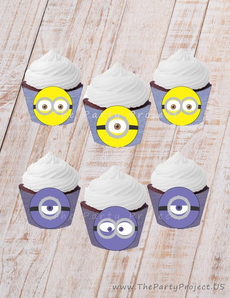 Minion printable cupcake wrappers! Decorate your Minion candy bar with these incredible Cupcake liners! Includes Evil Minions!