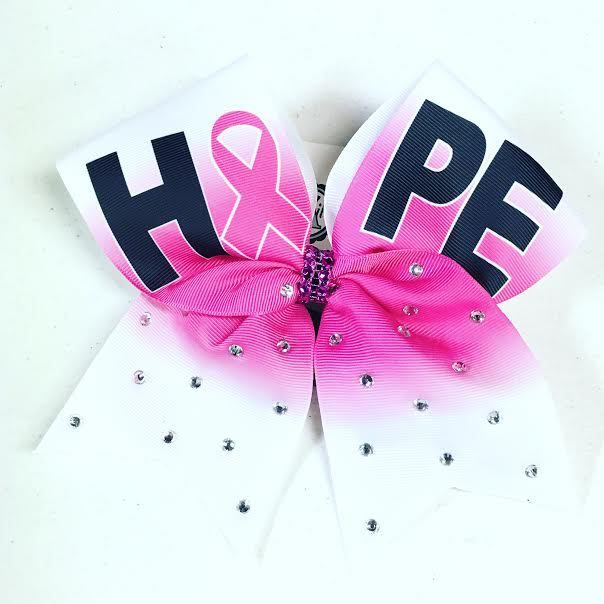 Bows by April - HOPE Hot Pink Center Ombre Awareness Pink Out Crystals Cheer Bow, $10.00 (http://www.bowsbyapril.com/hope-hot-pink-center-ombre-awareness-pink-out-crystals-cheer-bow/)