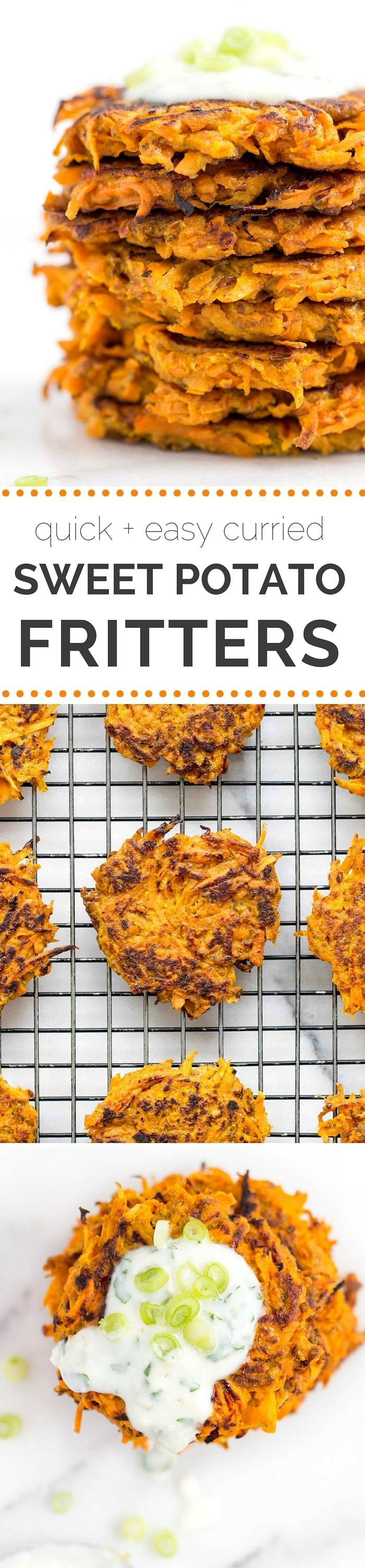 Curried Carrot + Sweet Potato Fritters...so simple to make and packed with tons of flavor!! {vegan + gluten-free}