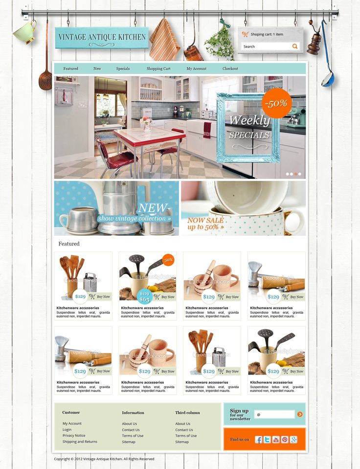 02.16.2013 | Website For Vintage Antique Kitchen By Susienka #cute  #ecommerce # · Webdesign ...