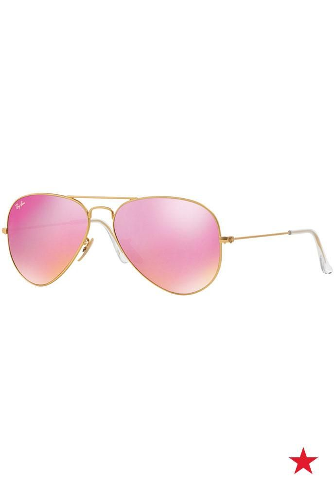 See through rose colored lenses in these pink mirrored Ray-Ban aviators. Shop these and more pink accessories to support BCRF at macys.com!