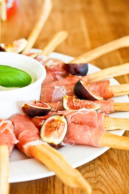 Prosciutto-Wrapped Grassini with Figs by foodiebride, via Flickr