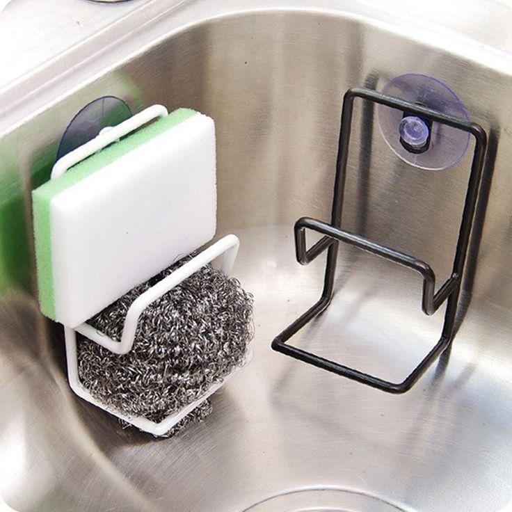 اندى بسيط الالتصاق مزدوج الحديد رفوف بالوعة استنزاف رف متعددة الأغراض الحطام تخزين الإسفنج فرشاة حامل المطبخ racker