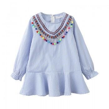 Lovely Ethnic Style Blue Stripe Zipper Back Ruffle Dress for Little Girls