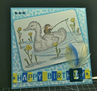 House Mouse Gone Fishin', Happy Birthday with feathers