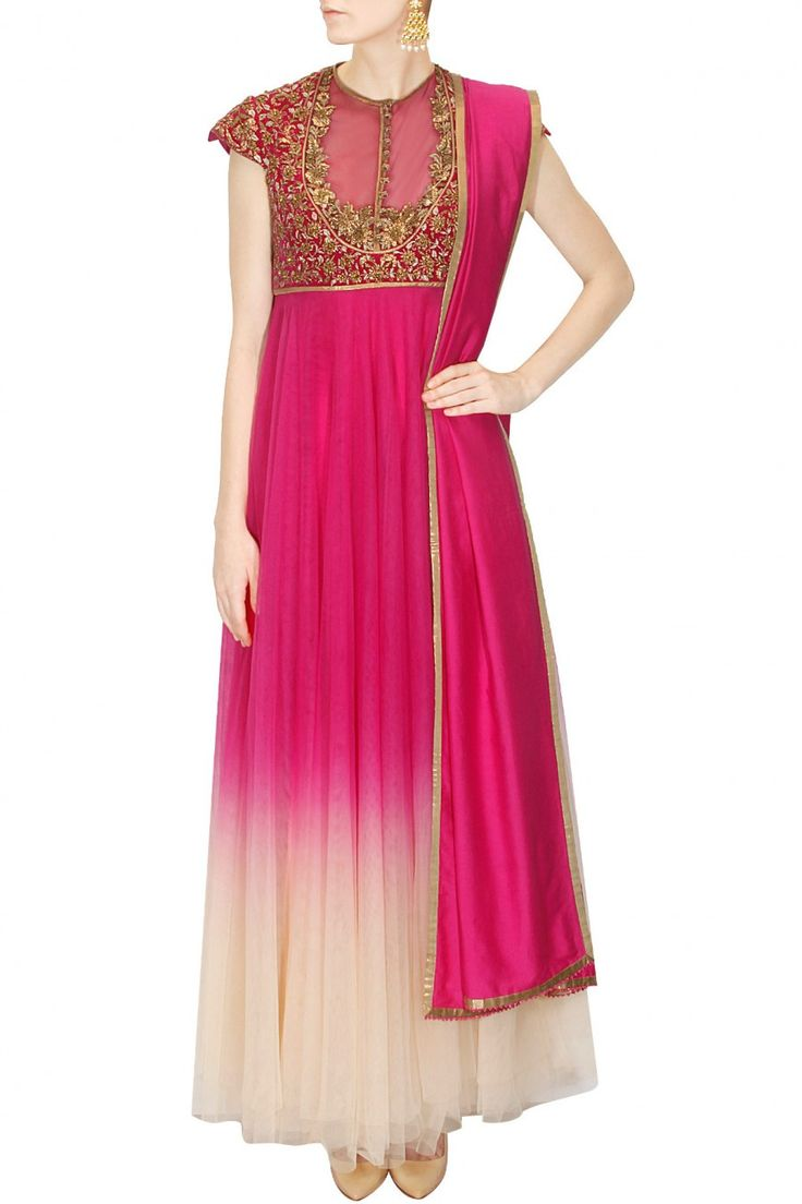 Magenta and Ivory shaded anarkali suit by JJ VALAYA – Panache Haute Couture