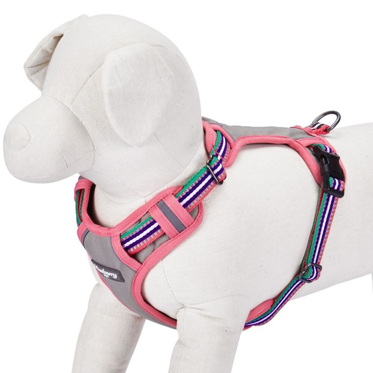 3M Reflective Multi-colored Stripe Mesh Padded Dog Harness Vest in Pink, Emerald & Orchid