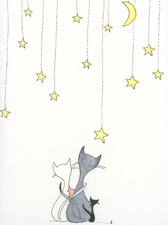 Cat Family Starry Night Nursery Watercolour by emilieOillustration