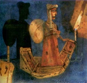 Ganesh Pyne, The Night of the Merchant, tempera on paper, 1985