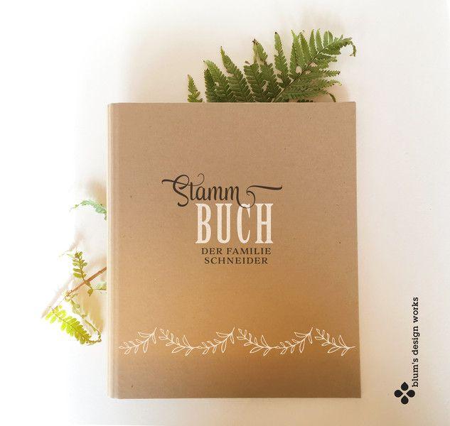 Hochzeitsalben - Stammbuch mit Namen, handbedruckt mit Girlande - ein Designerstück von blumsdesign bei DaWanda