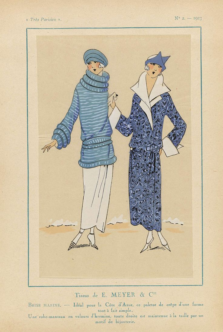 Anonymous | Très Parisien, 1923, No. 2:  Tissus de E. MEYER & CIE, Anonymous, E. Meyer & Cie, G-P. Joumard, 1923 | Stoffen van E. Meyer & Cie. Ideaal voor aan de Côte d'Azur, deze 'paletot' van crêpe heeft een eenvoudige vorm. Een 'robe-manteau' (jasjurk) van 'velours d'hermine', die geheel rechts in de taille bijeengehouden wordt middels een 'motif de bijouterie'. Prent uit het modetijdschrift Très Parisien (1920-1936).