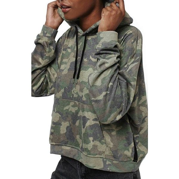 Women's Topshop Camo Print Hoodie (£52) ❤ liked on Polyvore featuring tops, hoodies, olive, petite, hooded sweatshirt, petite hoodie, petite hoodies, camo hooded sweatshirt and topshop