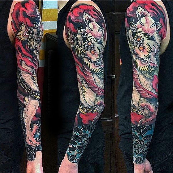 Mens Fabulous Japanese Sleeve Tattoo
