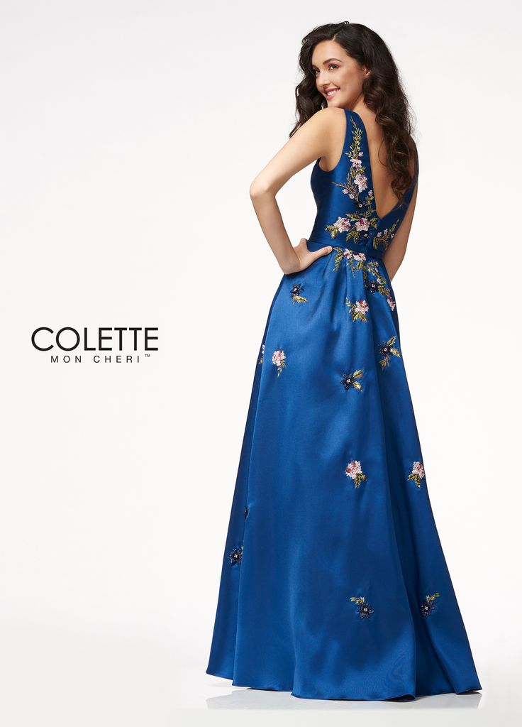 Colette for Mon Cheri CL21731 -   	Beaded Embroidered Mikado  	Bateau neckline  	A-line silhouette  	V-back