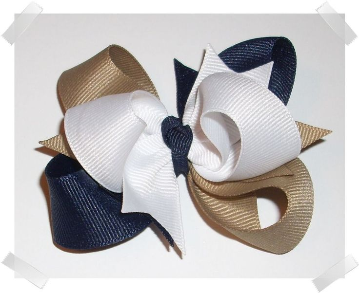 Petite School Uniform Triple Loop Grosgrain Hair Bow in Navy Blue, Khaki & White #Handmade