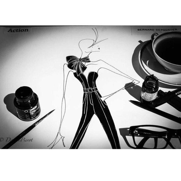 Focus croquis de la collection Hitchcock de Bernard Depoorter  @bernarddepoorter @bernarddepoorterofficial #croquis #fashion #couture #paris #luxe #bernarddepoorter