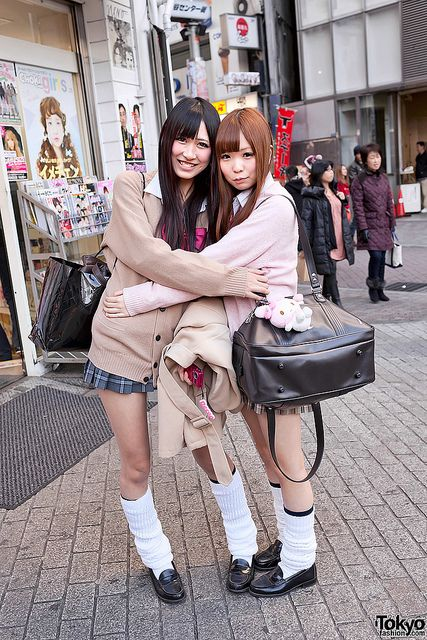 "Harajuku street fashion | Classic schoolgirl loose socks. We just learned that ""loose socks"" is a translation from the Japanese word for this style! http://www.sockdreams.com/products/schoolgirl-long-socks"
