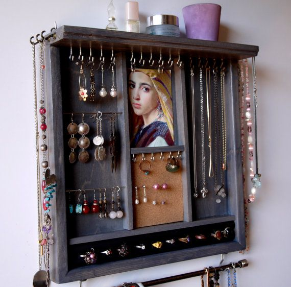 Jewelry holder. earrings display with shelf. Jewelry storage. gray jewelry display. Wooden wall mounted organizer. necklace holder - rack.