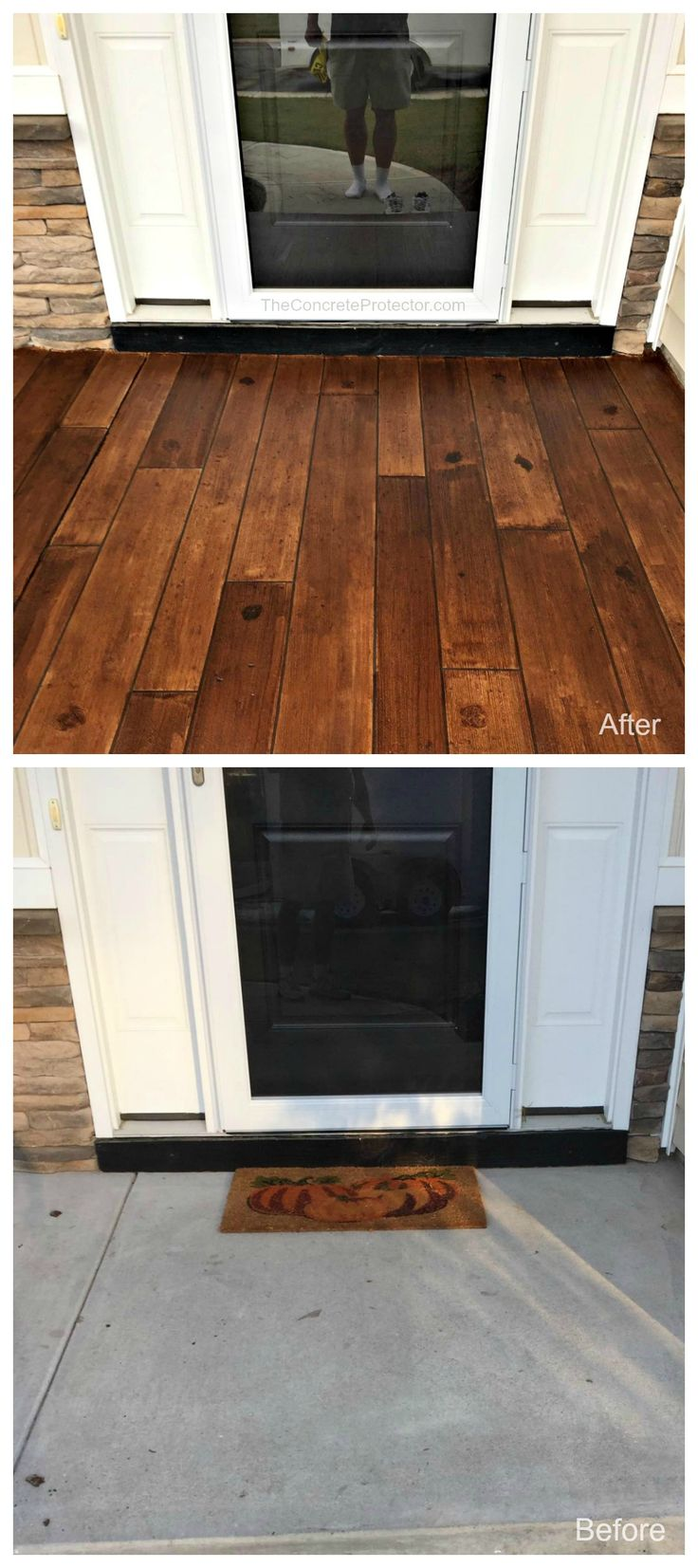 Rustic Concrete Wood Front Porch Makeover - The Concrete Protector