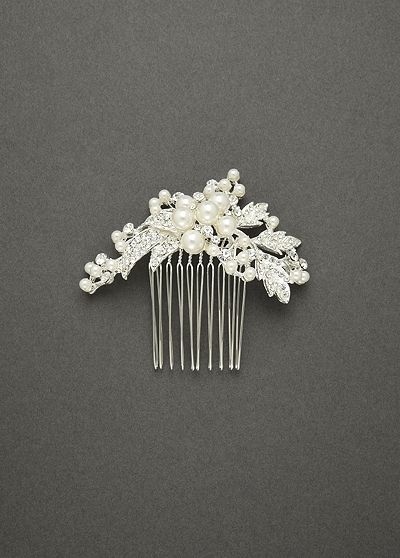 Spray Comb Featuring Pearl Clusters and Crystal C2104