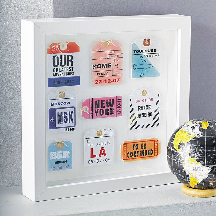 Personalised Travel Tag Artwork - love this idea @Leigh-Anne Whalley  - Tenerife - first holiday, New York - engagement, centre parcs - Milos first holiday, rhodes - wedding x x x