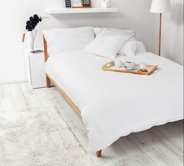 Breakfast in bed with White Pocket bedding #white #bedroom