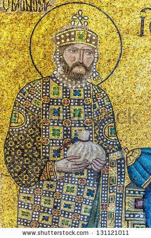 ISTANBUL, TURKEY - Emperor Constantine IX, a Byzantine mosaic in the interior of Hagia Sophia