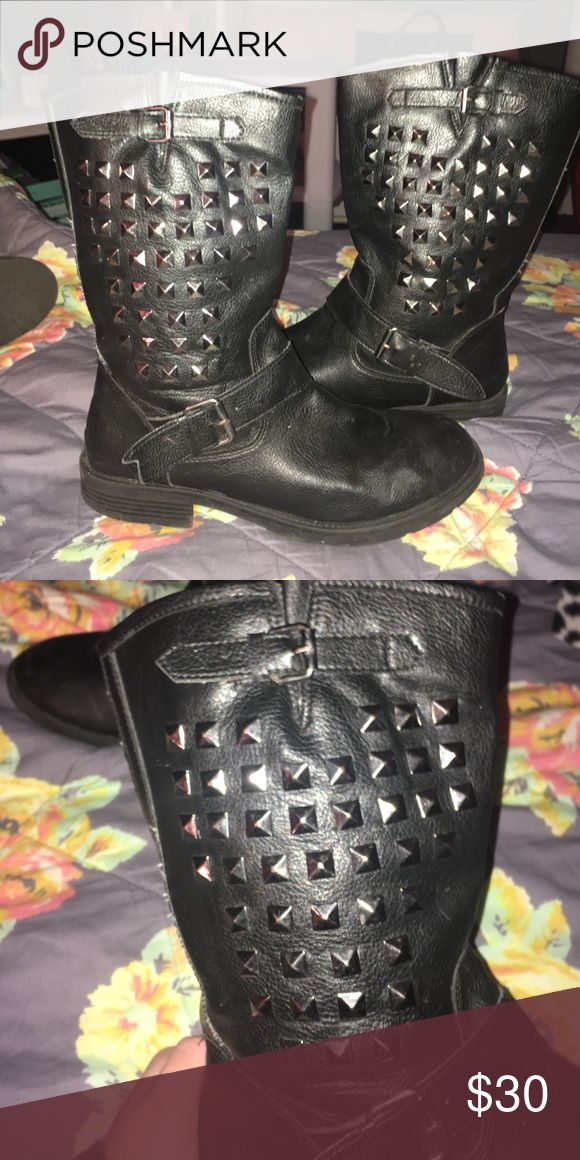 Black Low Studded Combat Boots Black low studded combat boots, worn a few times, great condition; size 9 1/2, bought from kohls Shoes Combat & Moto Boots