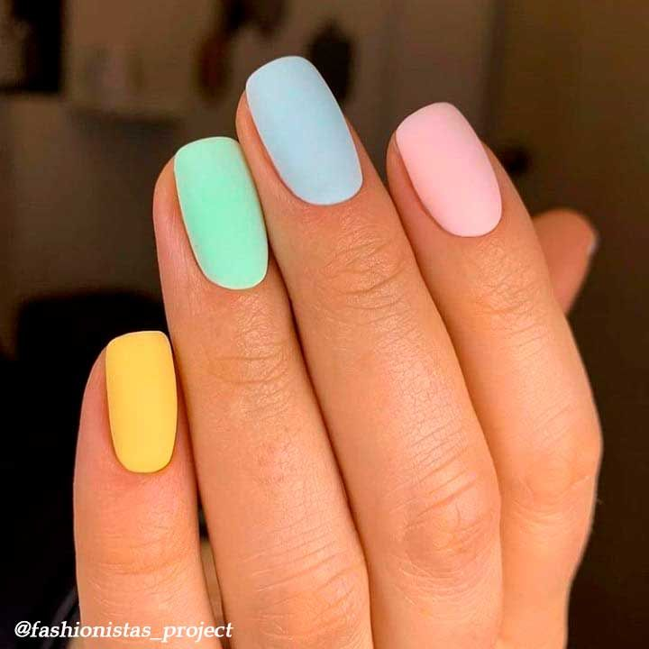 Spring Matte Multi Color Nails Short In 2020 Multicolored Nails Short Acrylic Nails Designs Pastel Nails Designs