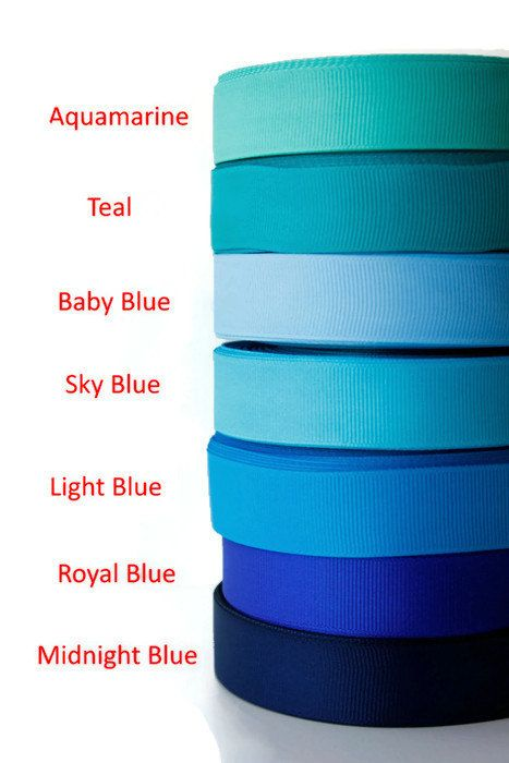"3/4"" Grosgrain ribbon, Gross grain ribbon, Textured, By the yard, Blue shades, Aquamarine, Light blue, Midnight blue, Baby blue and more by TwoChubbyRabbits on Etsy"