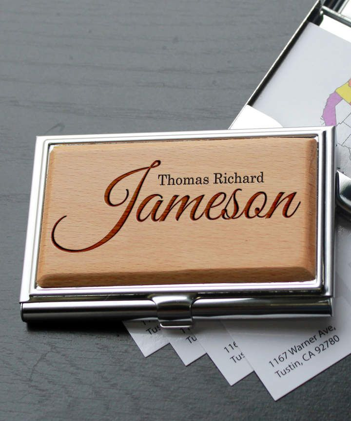 Personalized Jameson Metal Business Card Holder AD-Personalized Jameson Metal Business Card Holder. Add a personal touch to your business with this sturdy card holder that keeps your cards protected. Â 3.25'' W x 2.5'' H Wood / metal Made in the USA Shipping note: This item will be personalized just for you. Allow extra time for your special find to ship.