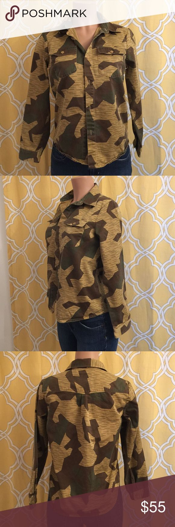 A.P.C button down camouflage shirt size m In excellent condition just missing one button A.P.C. Tops Button Down Shirts
