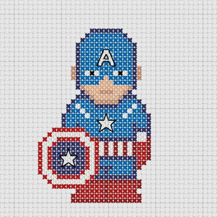 Cross stitch Marvel Avengers Captain America with shield.