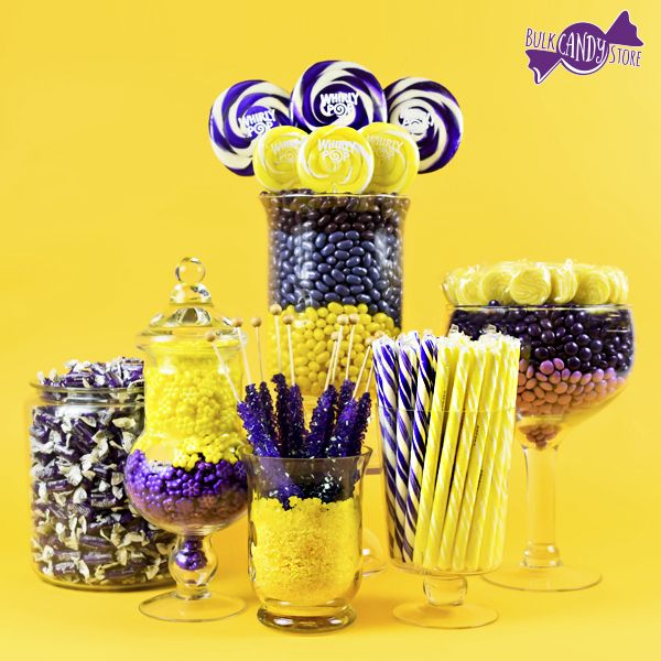 create your own purple yellow candy buffet easy to do with bulk candy