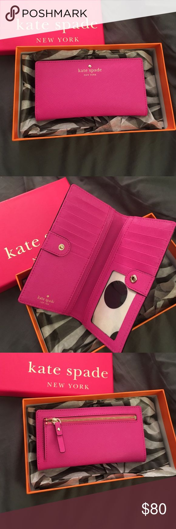 Kate spade cedar street Stacy wallet Brand new Kate spade wallet, no wear and tear. I've never used it and it's been sitting in my closet. The wallet is a pretty pink color which is why I bought it but never got around to using it. kate spade Bags Wallets