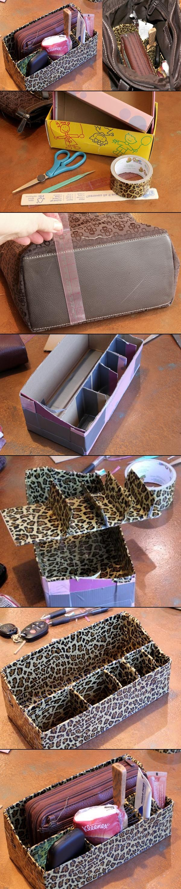 DIY Duct Tape Purse Organizer, by Me Makey Things.