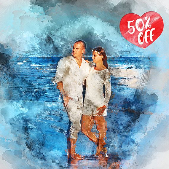 Custom Couple Watercolor Portrait with Background, Digital Art, Valentine Gift, custom portrait,Lover gift,painting from photo, Gift For Her, Gift For Him