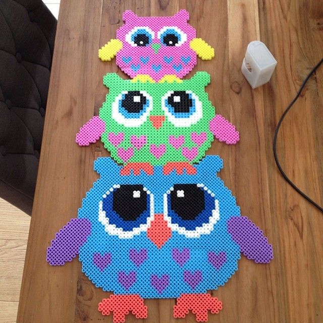 Owls hama perler beads by nadiaelfahem - Pattern: http://de.pinterest.com/pin/374291419001541951/