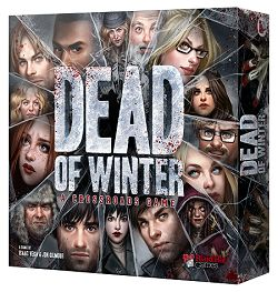 Dead of Winter: A Crossroads Game puts 2-5 players in a small, weakened colony of survivors in a world where most of humanity is either dead or diseased, flesh-craving monsters. Each player leads a faction of survivors with dozens of different characters in the game.