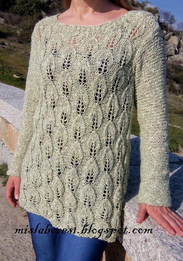 Mis labores jersey calado de hojas dos agujas - Puntos de lana a dos agujas ...