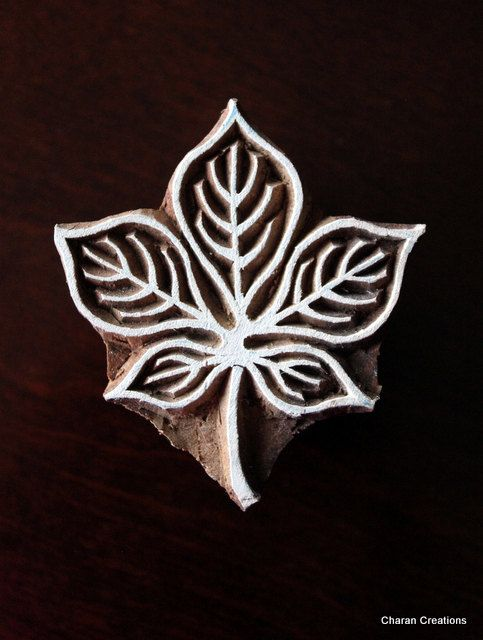 Indian Handmade wood stamps are a unique combination of Art, Skill & Functionality! This lovely wood stamp features a custom designed leaf,